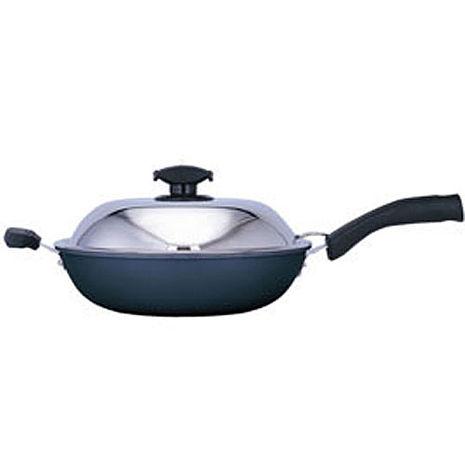 【寶馬】黑瓷釉不沾單把炒鍋 32cm JA-A-008-032