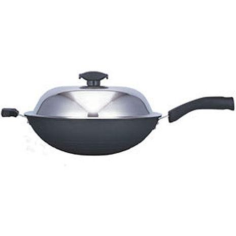 【寶馬】黑瓷釉不沾單把炒鍋 33cm JA-A-008-033