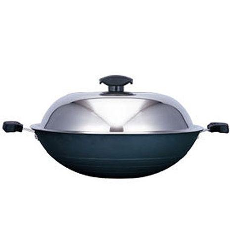 【寶馬】黑瓷釉不沾雙耳炒鍋 42cm JA-A-008-042