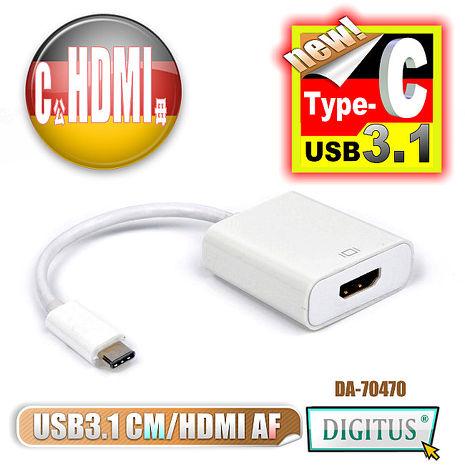 曜兆DIGITUS USB 3.1 Type-C 轉 HDMI A 高畫質影像轉接線(公對母)