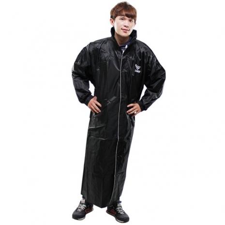 新二代【JUMP】前開素色休閒風雨衣-黑色