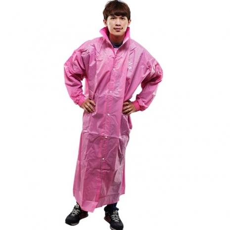 新二代【JUMP】前開素色休閒風雨衣-粉紅色