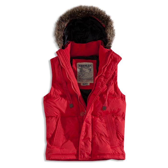 【RUBON NO.925】短版鋪棉連帽背心外套(紅)