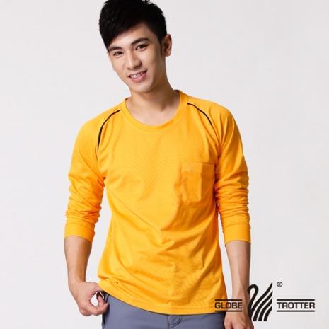 【遊遍天下】MIT男款運動休閒吸濕排汗機能圓領長衫L038金黃