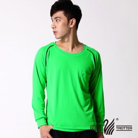 【遊遍天下】MIT男款運動休閒吸濕排汗機能圓領長衫L038活綠