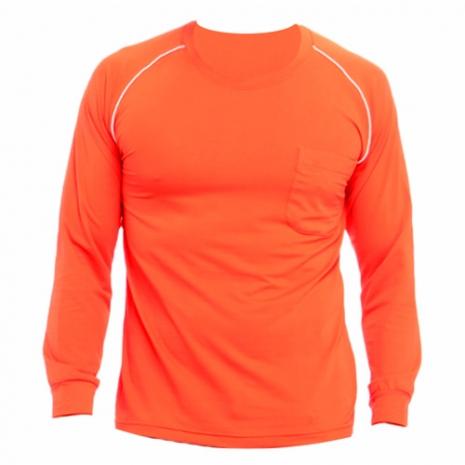 【遊遍天下】MIT男款運動休閒吸濕排汗機能圓領長衫L038桔色