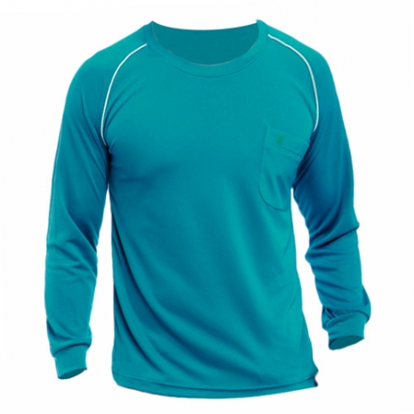 【遊遍天下】MIT男款運動休閒吸濕排汗機能圓領長衫L038孔雀綠