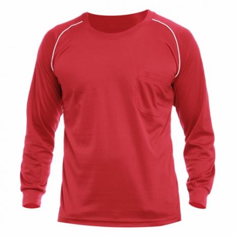 【遊遍天下】MIT男款運動休閒吸濕排汗機能圓領長衫L038紅色
