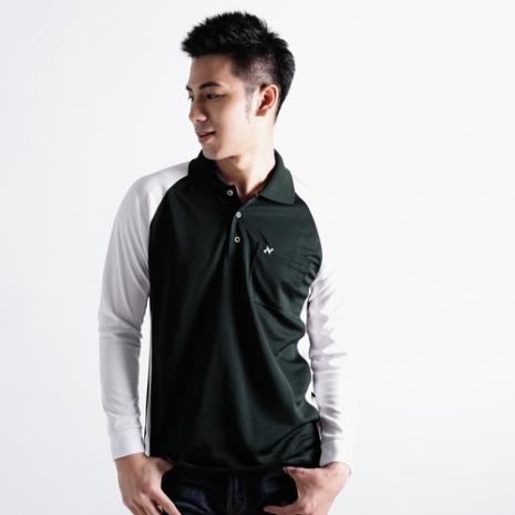 【遊遍天下】男款運動休閒抗UV吸濕排汗機能POLO長衫NL006黑白