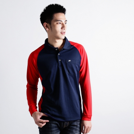 【遊遍天下】男款運動休閒抗UV吸濕排汗機能POLO長衫NL006丈青紅