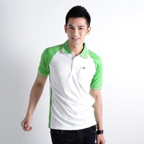 【遊遍天下】男款抗UV吸濕排汗機能POLO衫NS004白/綠