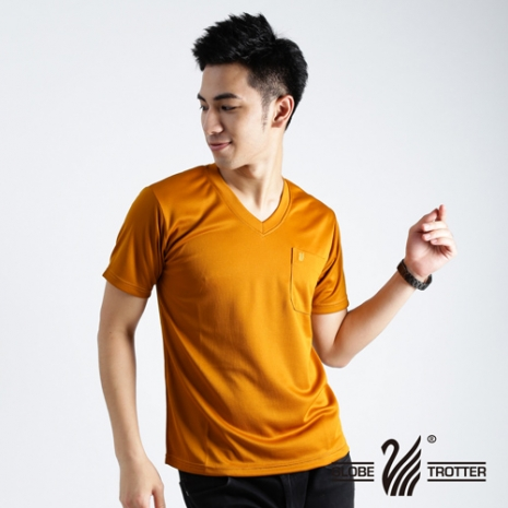 【遊遍天下】MIT台灣製男款抗UV涼爽吸濕排汗V領機能衫S106土黃