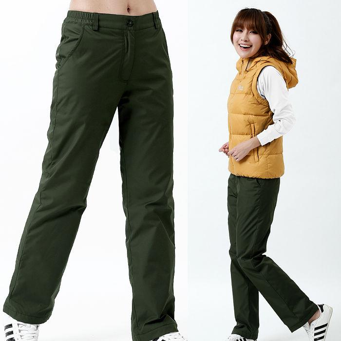 【遊遍天下】女款顯瘦直筒防風防潑水透氣禦寒刷毛保暖褲/ 防風雪褲P107墨綠