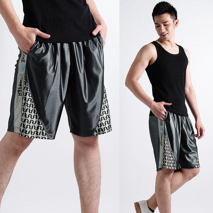 【遊遍天下】MIT台灣製男款亮面絲光透氣藍球短褲P122灰色