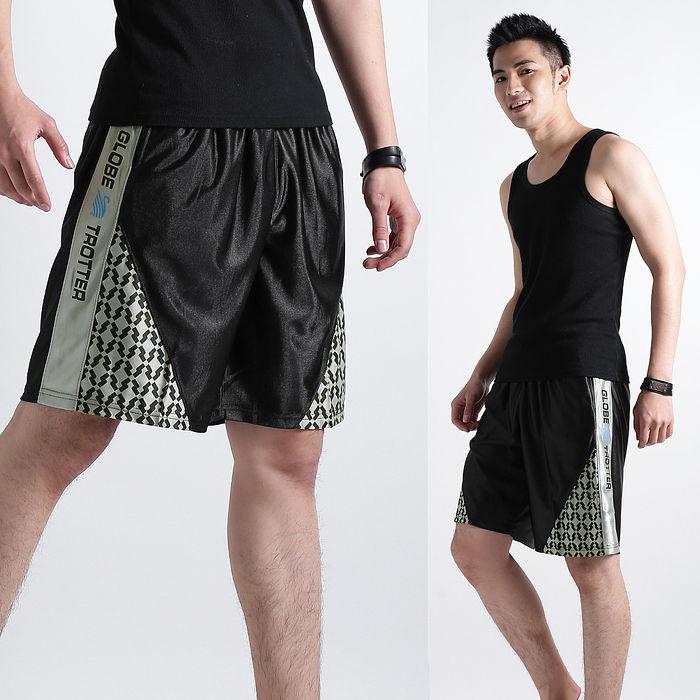 【遊遍天下】MIT台灣製男款亮面絲光透氣藍球短褲P122黑色