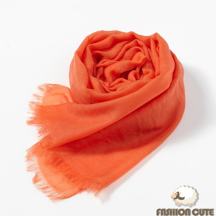 【Fashion Cute】胎羊毛素面羊毛披肩(亮橘色)