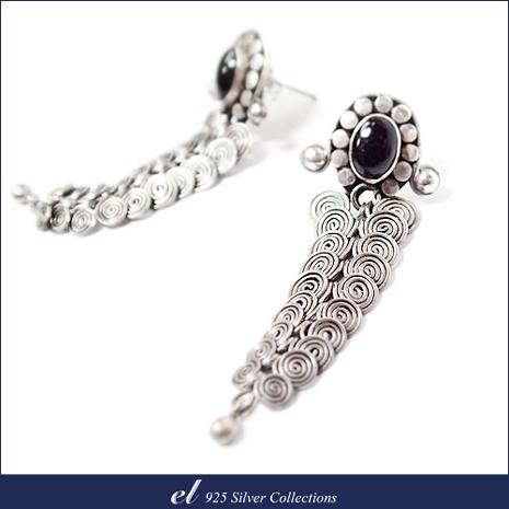 el 925銀飾 - 黑縞瑪瑙耳環 Dark Ripple