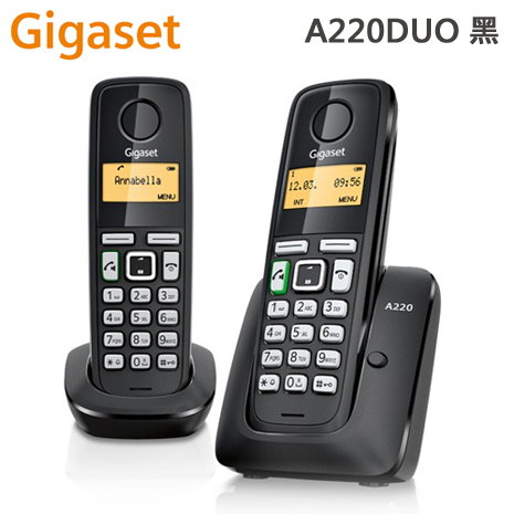 德國Gigaset 數位子母型無線電話機(A220DUO)德國原裝_黑,白色