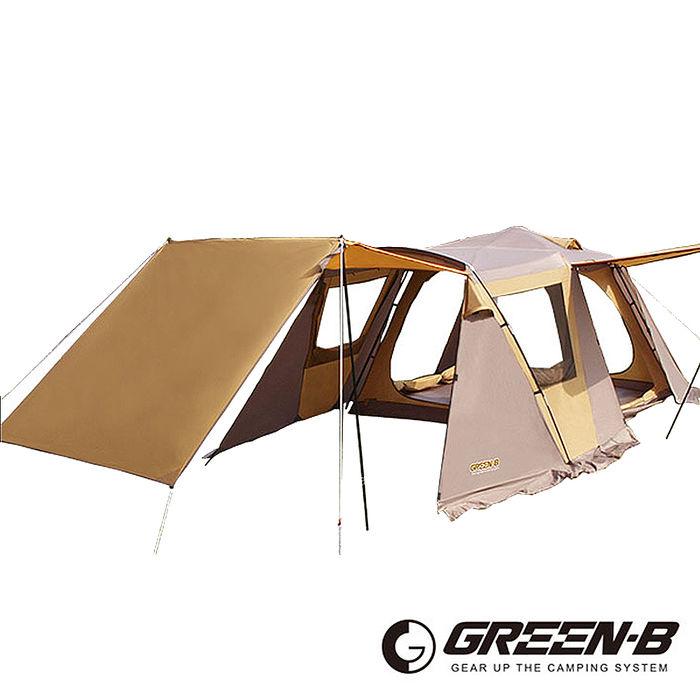 GREEN-B 頂級豪華透氣窗家庭式雙層速搭自動帳篷7-8人