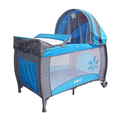 EMC 豪華型嬰幼兒安全遊戲床(平安藍)含雙層架+尿布台