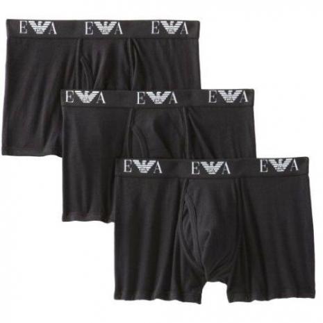 【EMPORIO ARMANI】阿瑪尼鷹徽標3件組四角黑色內著預購