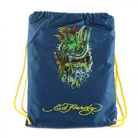 【Ed Hardy】2015時尚鸚鵡圖騰靛藍色抽繩休閒後背包(預購)
