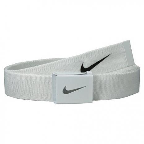 【Nike】2015金屬扣旋風標誌棉軟織帶白色皮帶★預購