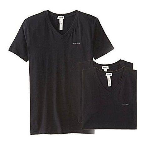 【Diesel】2015男時尚彈力棉黑色V領短袖內衣3件組(預購)