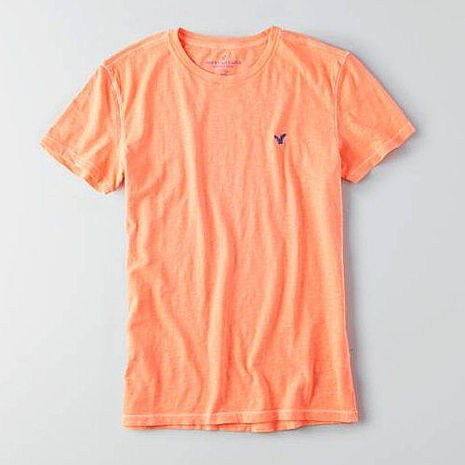 American Eagle 2016男時尚小老鷹刺繡虹橙色圓領短袖ㄒ恤預購