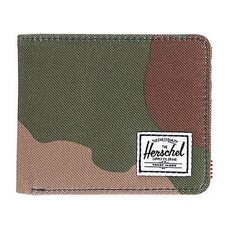 【Herschel】2016男時尚塗層棉織綠迷彩色皮夾★預購