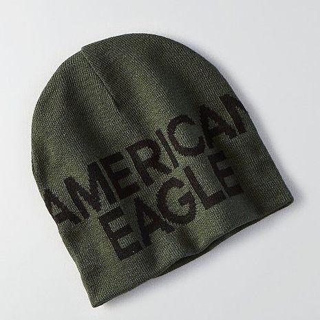 【American Eagle 】2016男時尚字母標誌橄欖綠雙面豆豆帽★預購