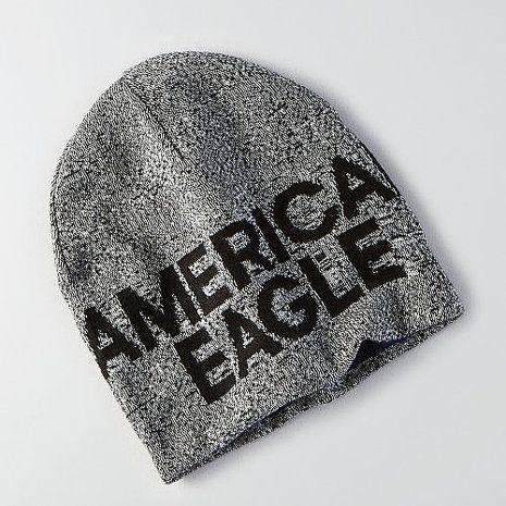 【American Eagle 】2016男時尚字母標誌深灰色雙面豆豆帽★預購