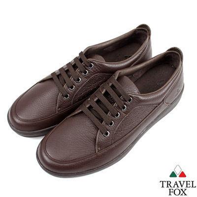Travel Fox(女)★圓融紳士軟皮沖孔休閒鞋-素咖