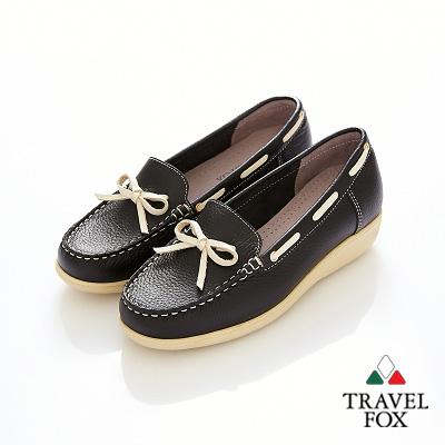 Travel Fox(女)★甜心永遠 單結超彈高底帆船鞋 - 揚帆黑