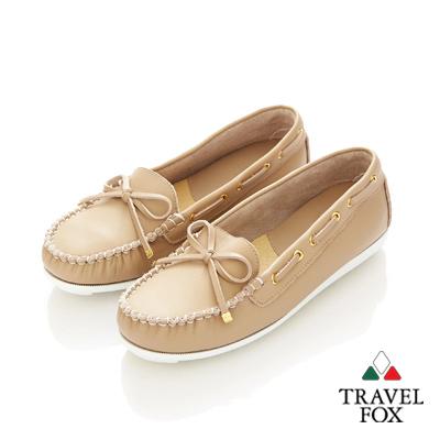 Travel Fox(女)★我的金扣子 淺口豆豆帆船鞋 - 奶油米