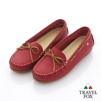 Travel Fox(女) 旅狐休閒鞋 義想飛飛蝴蝶結豆豆休閒鞋 - 俏皮紅