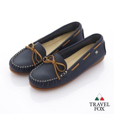 Travel Fox(女) 旅狐休閒鞋 義想飛飛蝴蝶結豆豆休閒鞋 - 出線藍