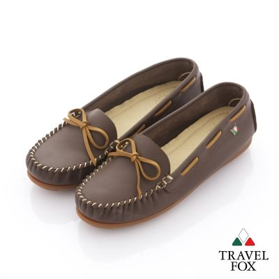 Travel Fox(女) 旅狐休閒鞋 義想飛飛蝴蝶結豆豆休閒鞋 - 經典咖