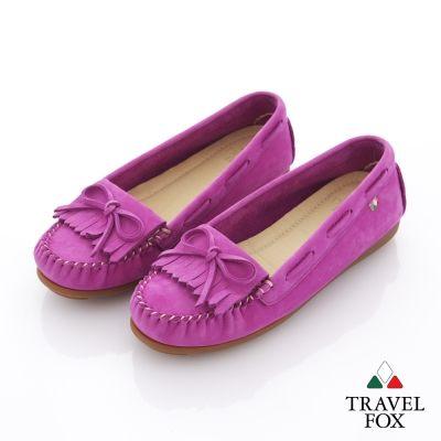 Travel Fox(女) 絕對莫卡辛 流蘇豆豆旅狐休閒鞋 - 豔活紫