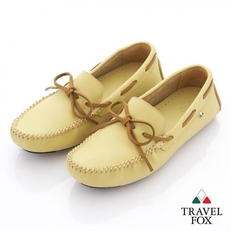 Travel Fox(女) 旅狐司機鞋 牛皮輕鬆綁帶帆船司機鞋 - 奶油黃