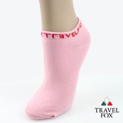 【Travel Fox】(女) 簡單系LOGO彈力船形裸短襪 - 粉