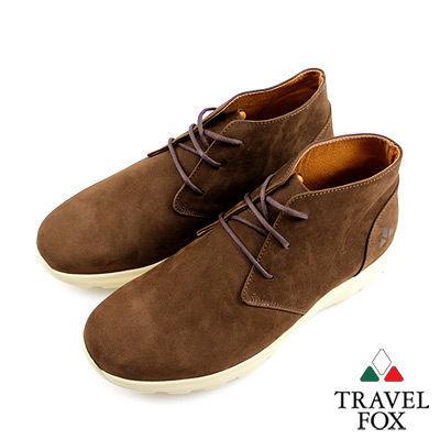 Travel Fox(男)★ 白色戀人反毛皮低筒休閒鞋-摩卡咖