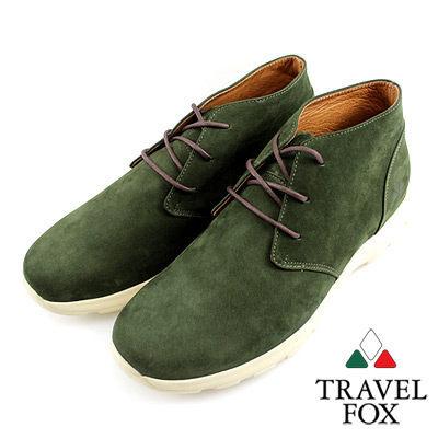 Travel Fox(男)★ 白色戀人反毛皮低筒休閒鞋-抹茶綠