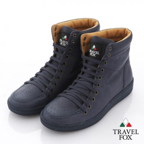 Travel Fox(男) 旅途系列 超軟經典高筒運動鞋 - 天幕藍