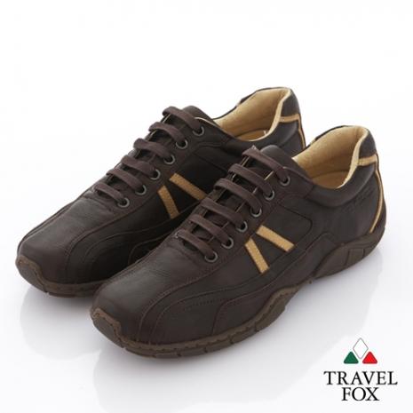 Travel Fox(男) 旅狐休閒鞋 小八越野牛皮休閒鞋 - 深咖
