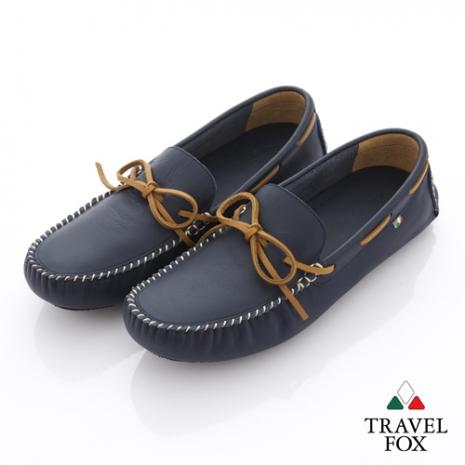 Travel Fox(男) 旅狐司機鞋 牛皮輕鬆綁帶帆船司機鞋 - 司令藍