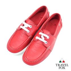 Travel Fox(女)-軟皮四孔帆船鞋-紅