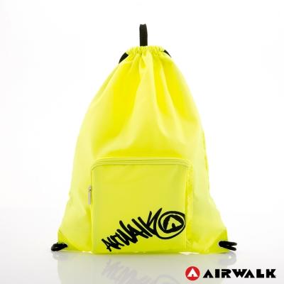 AIRWALK - 無所謂束口袋 自由出走尼龍束口後背包 - 黑字綠