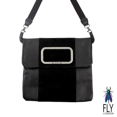 【Fly London 】方方的框 雙拼牛皮 手拿/斜揹包 - 勁道黑