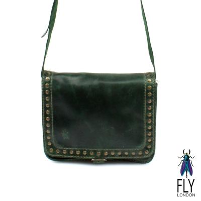 【Fly London 】帶釘的素面小肩包 -  最愛綠